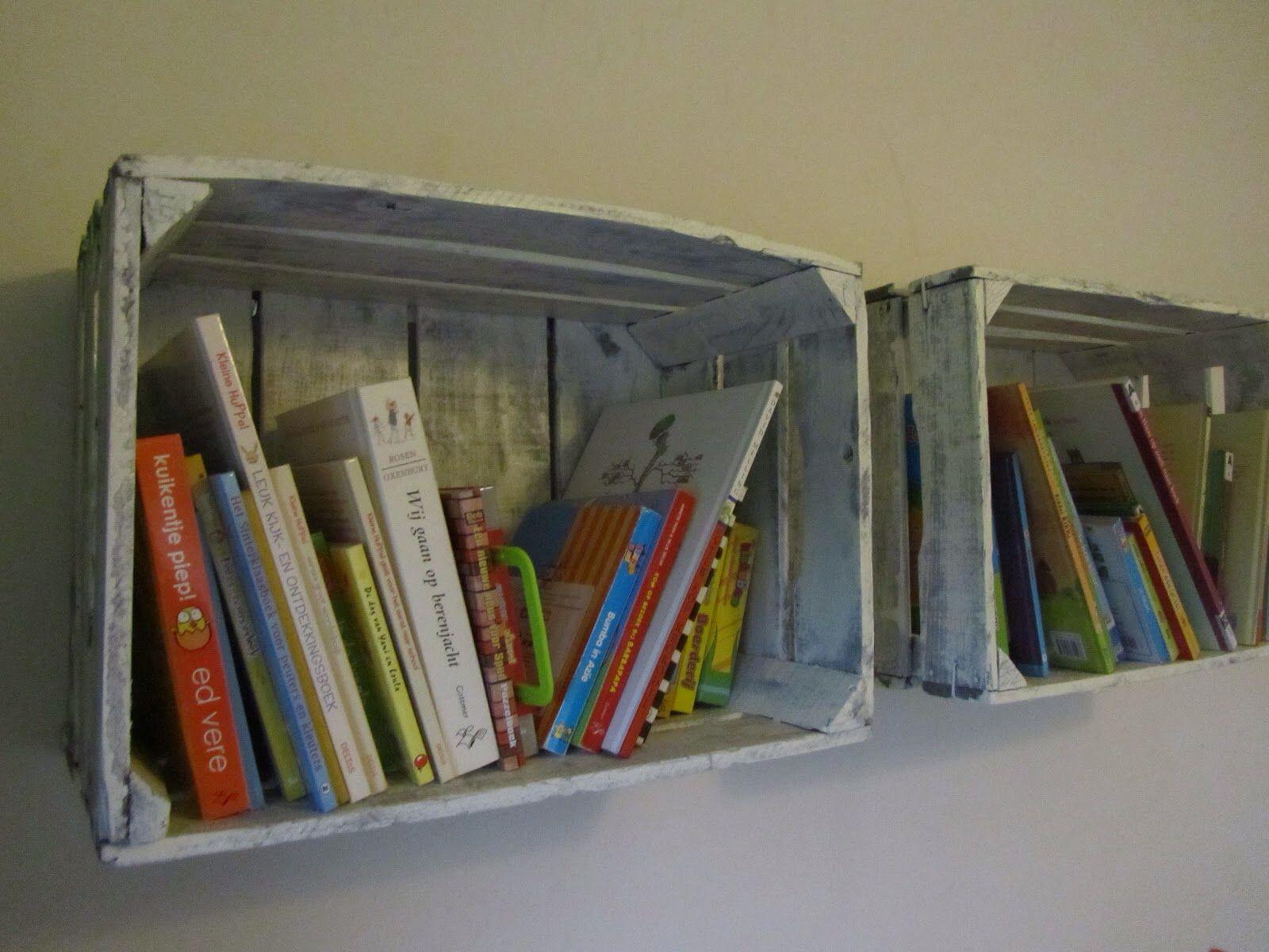 Fruitkisten boekenplank en boekenkast nieuw huis kinderkamer pinterest boekenplank - Kind mezzanine slaapkamer ...