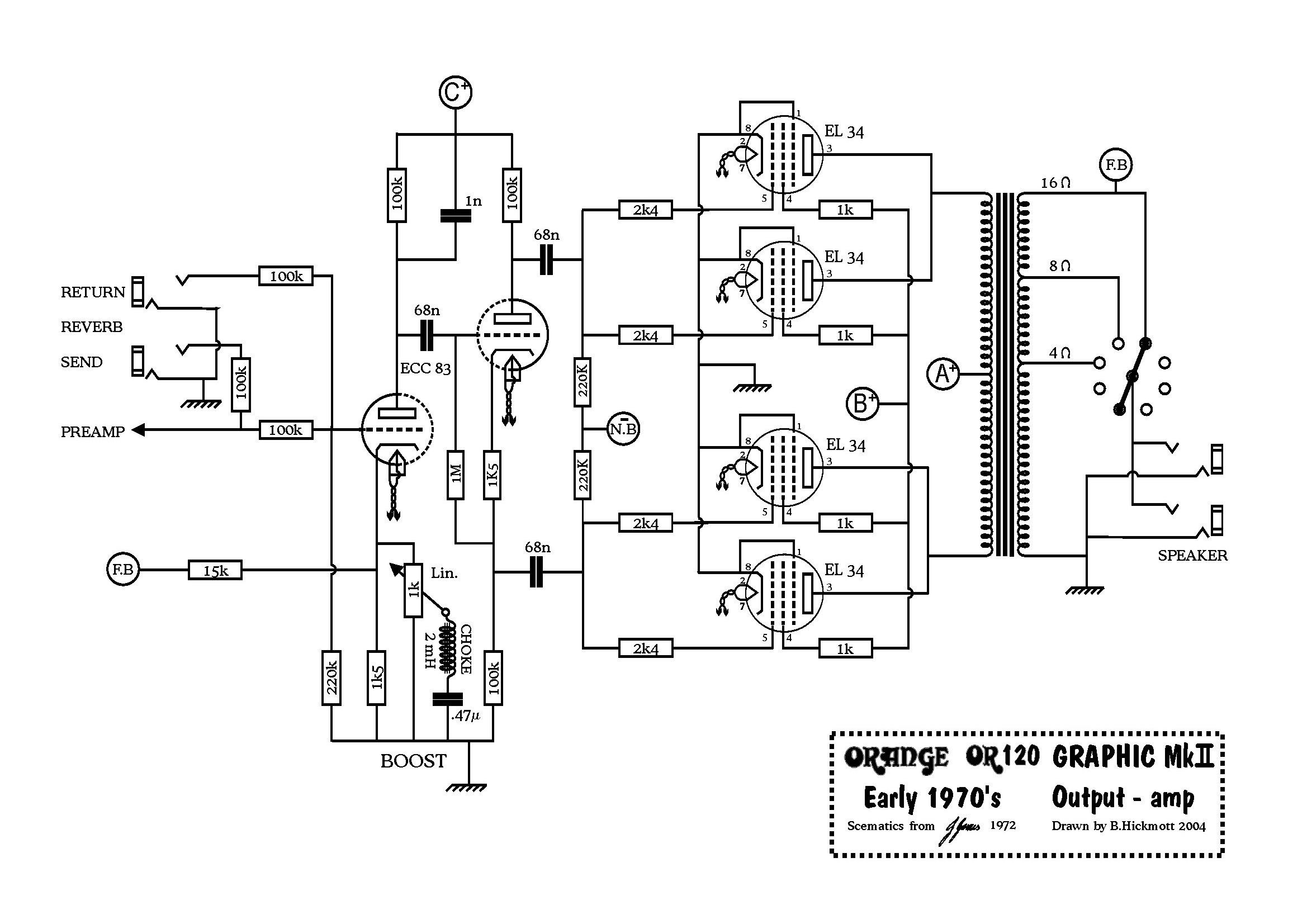 guitar amplifier circuit diagram with pcb layout new the orange amp mods page [ 2338 x 1653 Pixel ]