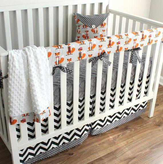 Boy Crib Bedding Dapper Fox Chevron Crib Rail Baby
