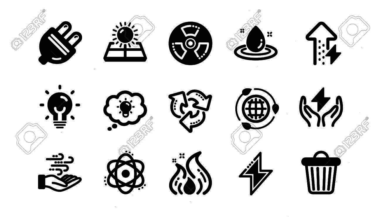 and electric thunder bolt. Fire flame, hazard, green ecology icons. Classic set. Quality set. Vecto