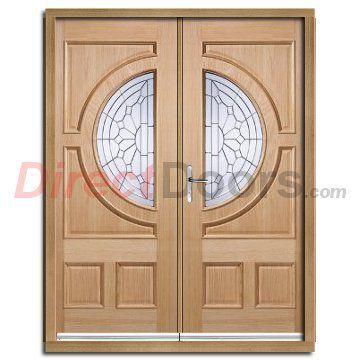 Empress External Oak Double Door And Frame Set With Zinc Clear Tri