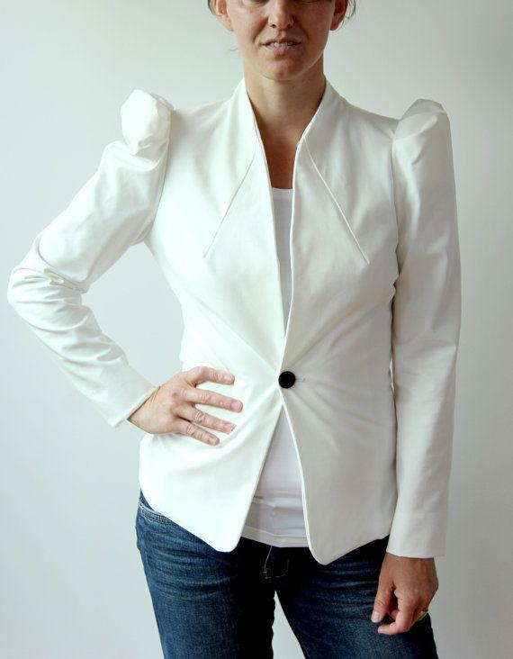 Women peplum jacket, short tailored jacket, pleated jacket, puff ...