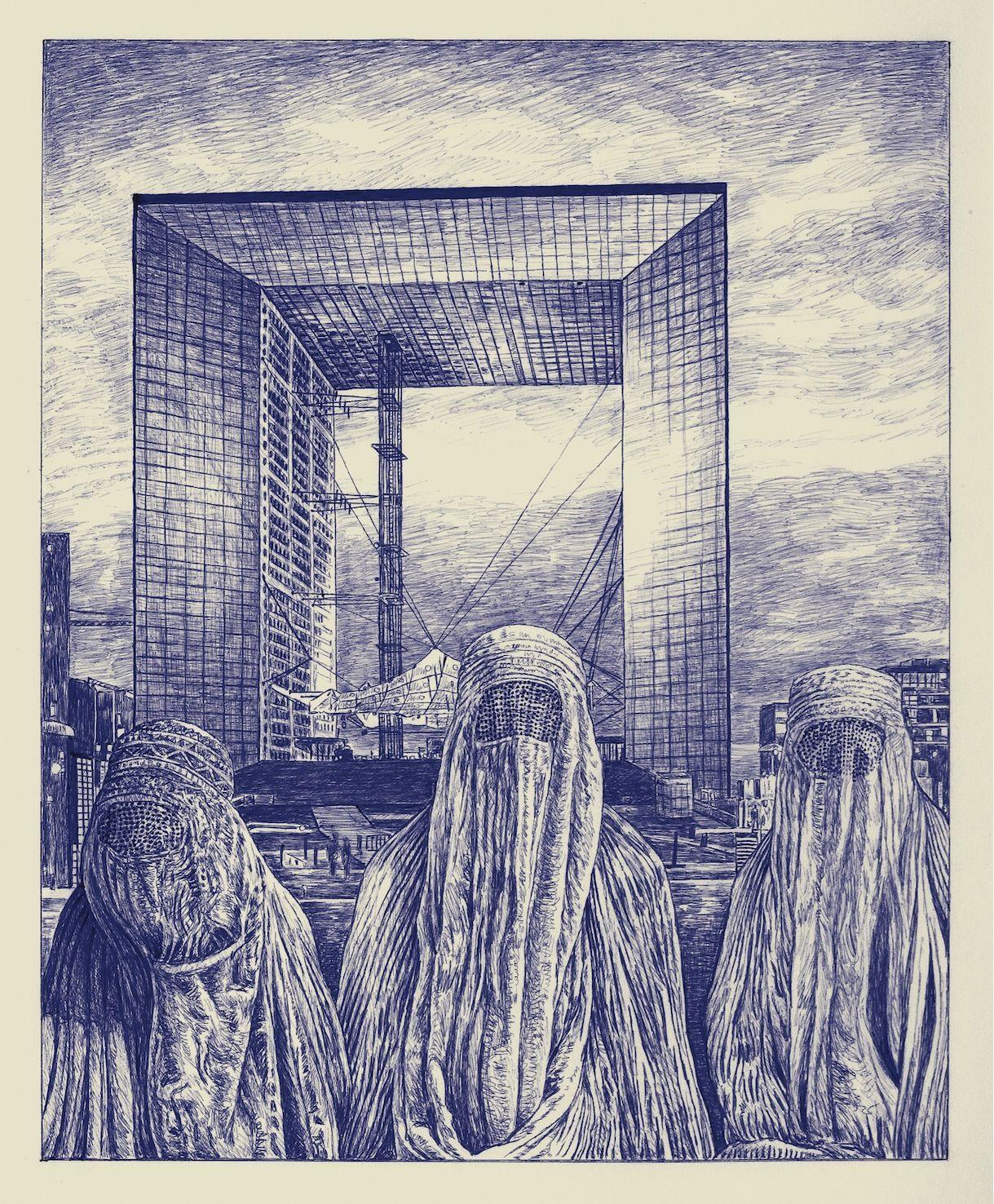 Andrea Zucchi, Parigi, 2009, penna a sfera su carta pergamena, cm 37x40.