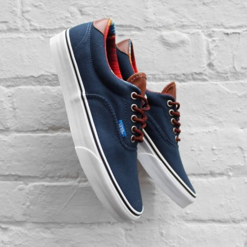 d5b2a16104 Vans Era 59 C L Dress Blue Leather Trim Canvas Stripe Deck Shoes VN 0UC7AQU