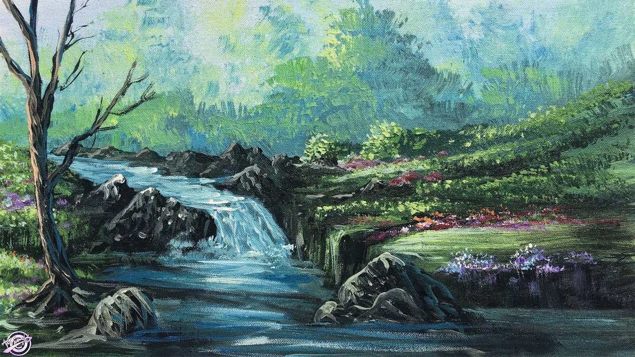 Forest River Painting A Beautiful Forest River Landscape