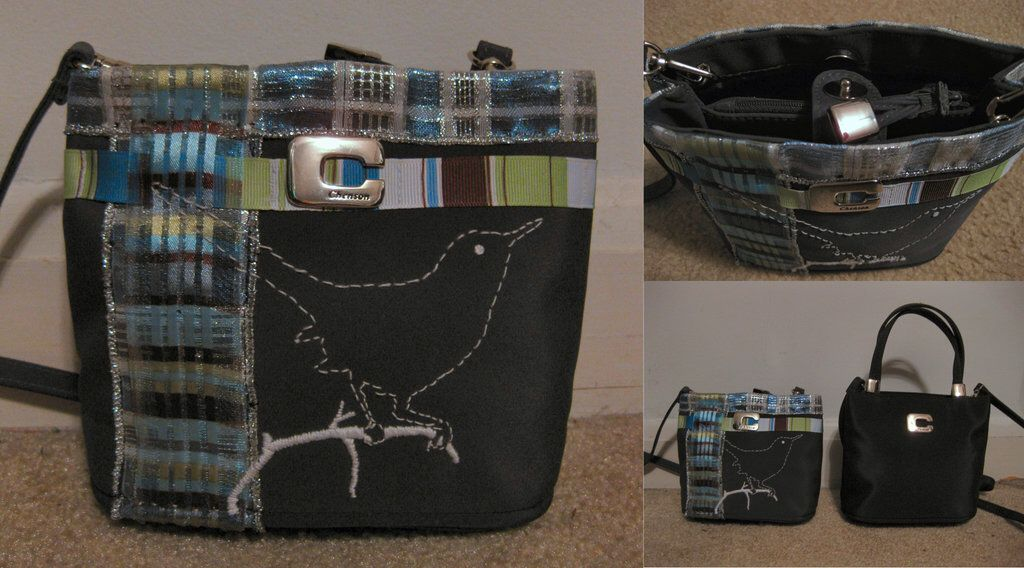 Handbag With Stitched Bird by magpienerd on @DeviantArt