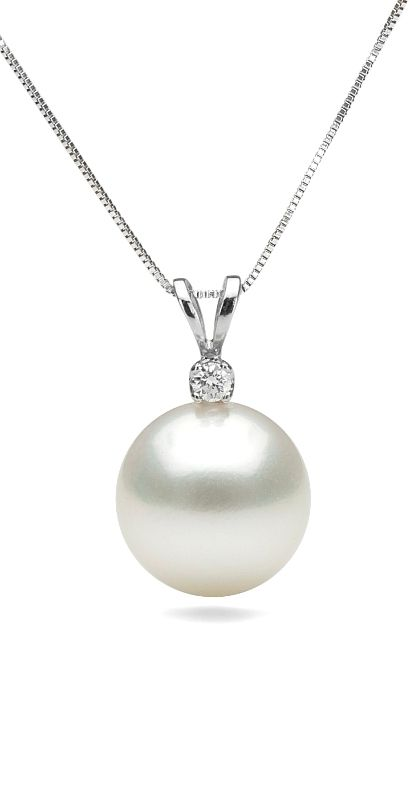 Pearl necklace single pearl necklace june birthstone gold or white south sea pearl pendant with diamond jewelrytang aloadofball Gallery