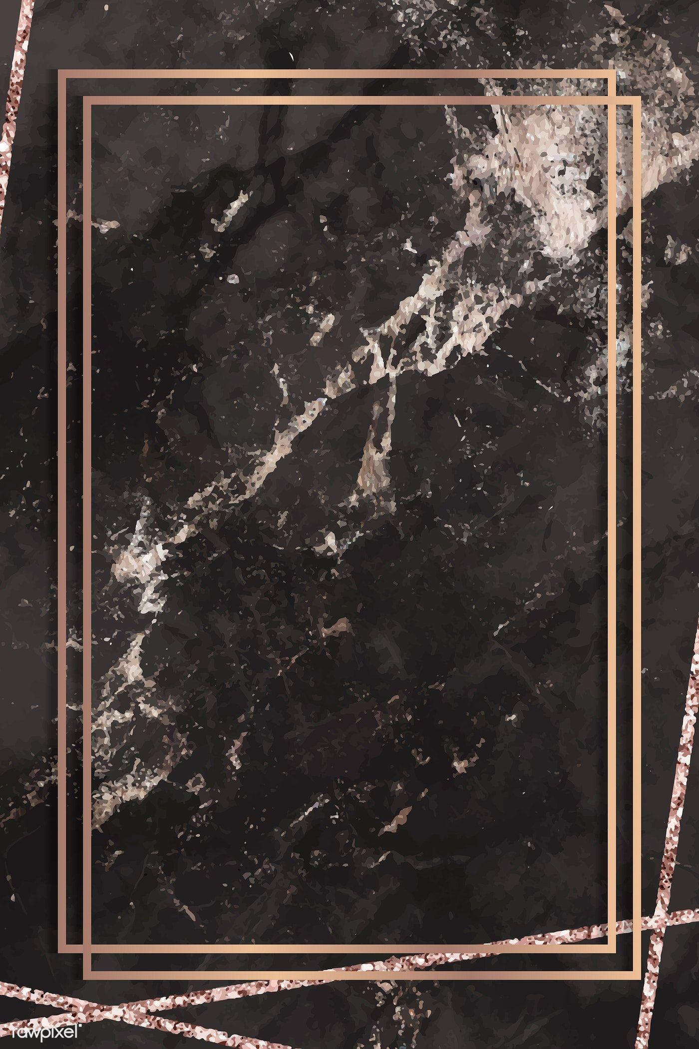 Download Premium Vector Of Rectangle Frame On Black Marbled Background Marble Background Black Background Wallpaper Black Marble Background