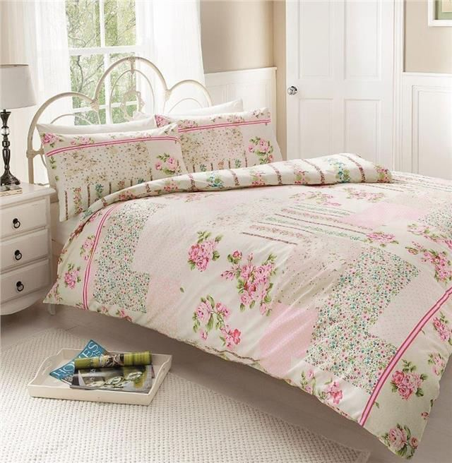New pink vintage rose patchwork duvet set - double quilt cover bed ... : vintage bed quilts - Adamdwight.com