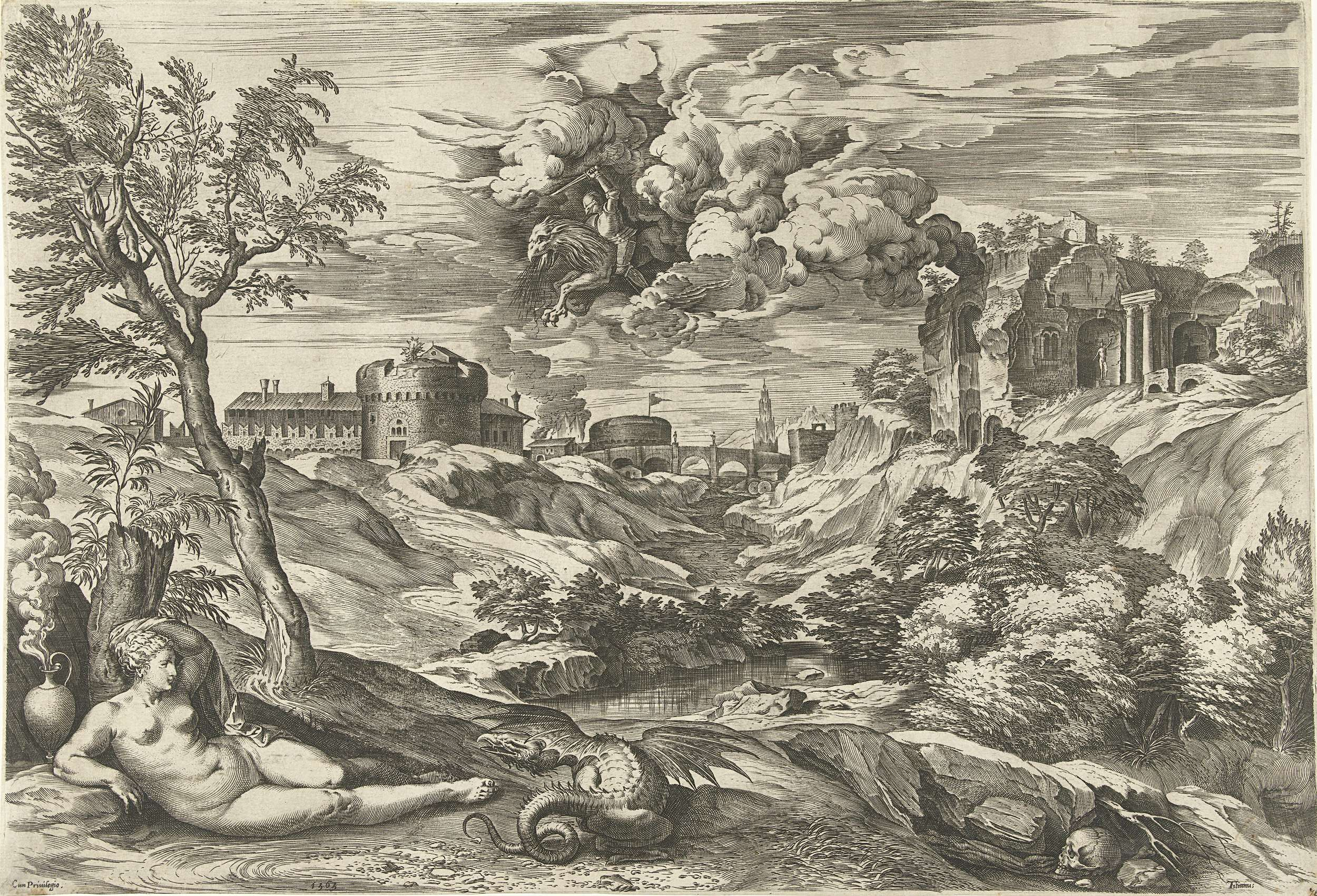 Cornelis Cort | Landschap met Ruggiero die Angelica bevrijdt, Cornelis Cort, unknown, 1565 | Landschap met de ridder Ruggiero die Angelica bevrijdt. Ruggiero rijdt op een hippogrijf. Een draak bewaakt de schone Angelica. Scène uit het episch gedicht  'Orlando Furioso' (1516) van Ludovico Ariosto.
