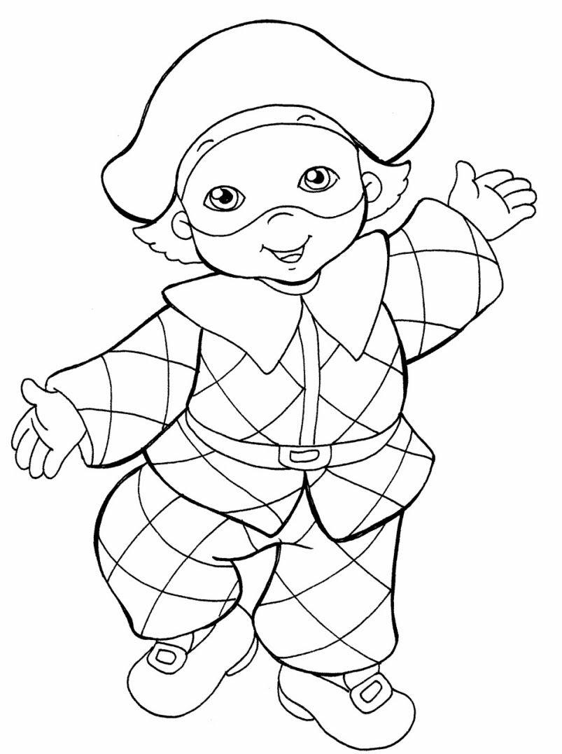 Disegni per carnevale per bambini lavoretti di carnevale for Giullare da colorare