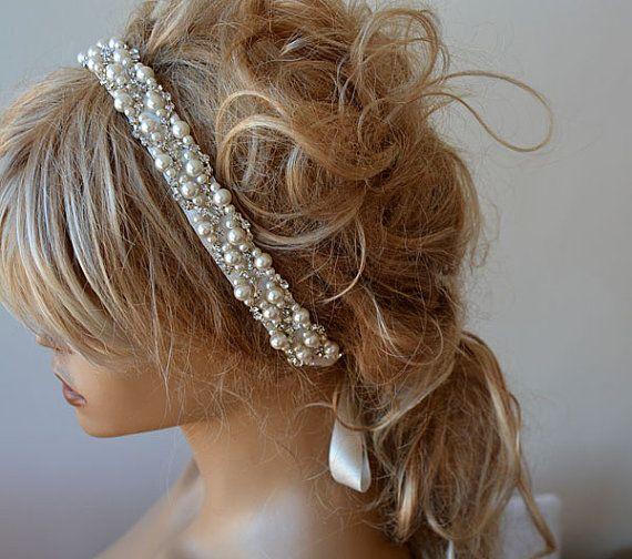 Photo of Items similar to Pearl Headband, Wedding Pearl Headband, Bridal Pearl Headband, Wedding hair Accessory, Bridal Hair Accessory on Etsy