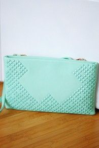mint studded clutch