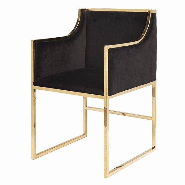 Black Velvet Dining Occasional Chair With Brass Frame Seat Height 20 Arm