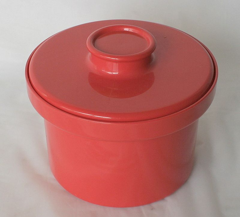 Red Margarine Butter Canister Container DÉCOR Plastic 1980s