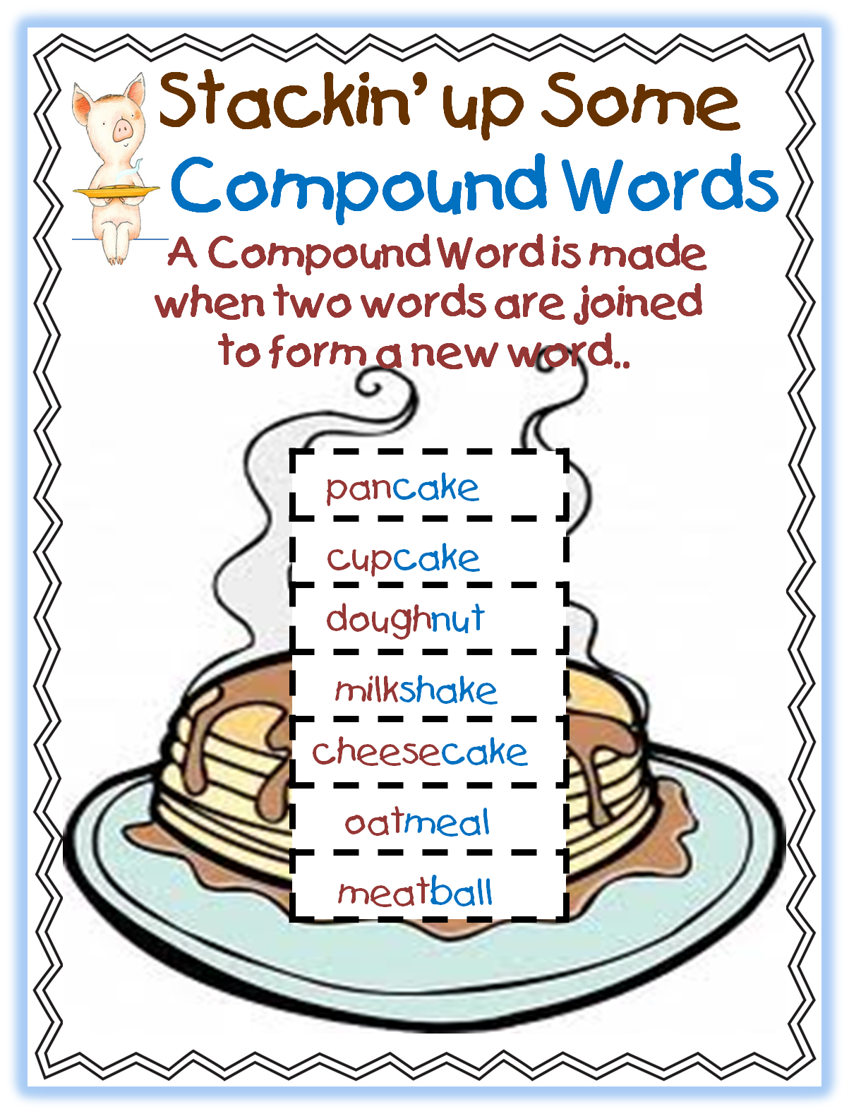 worksheet Compound Words Ks1 Worksheet give a pig pancake first grade free printable compound word unit unit