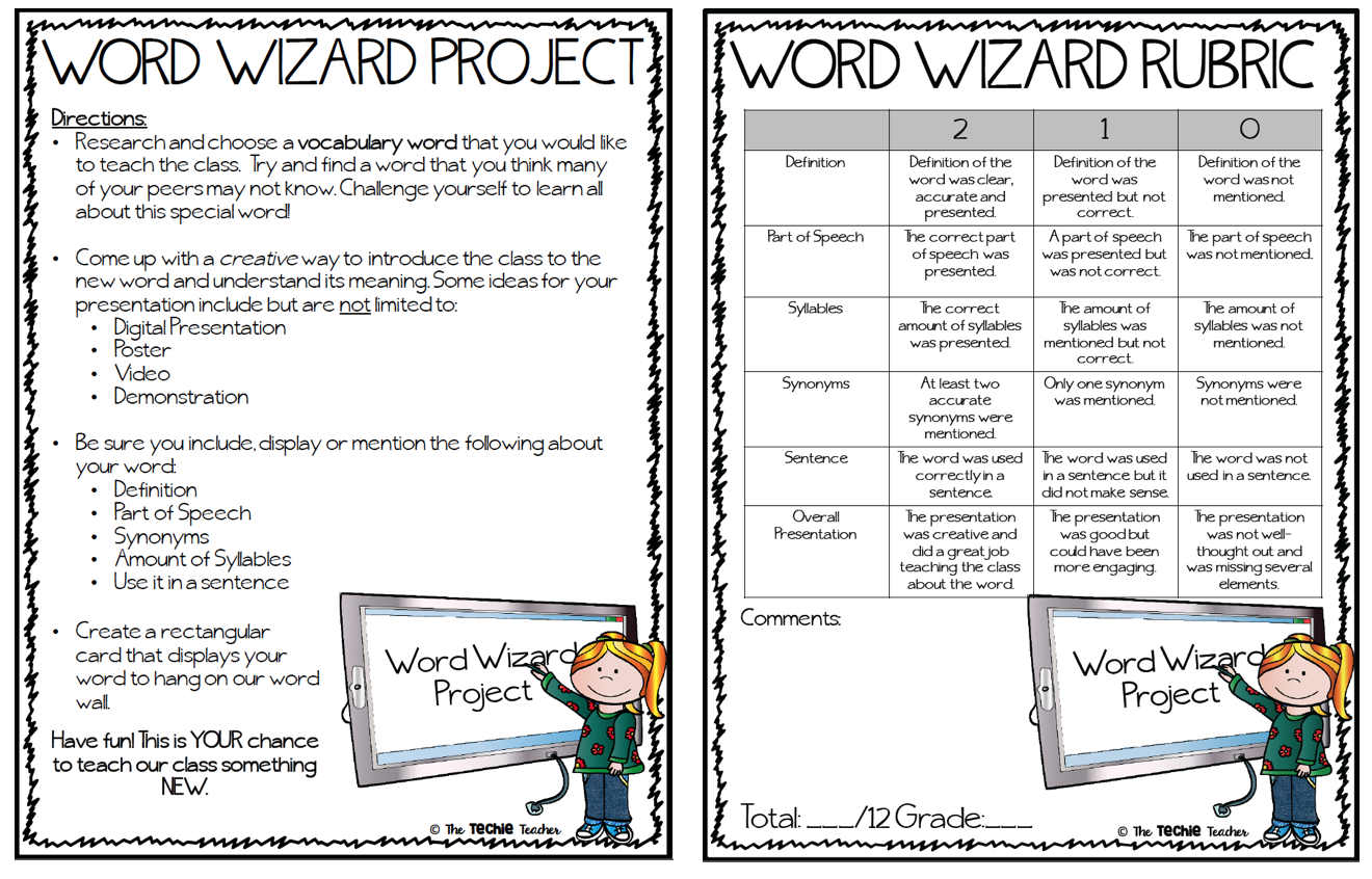 Student Centered Vocabulary Project For Your Word Wizards Vocabulary Project Vocabulary Words Activities Vocabulary