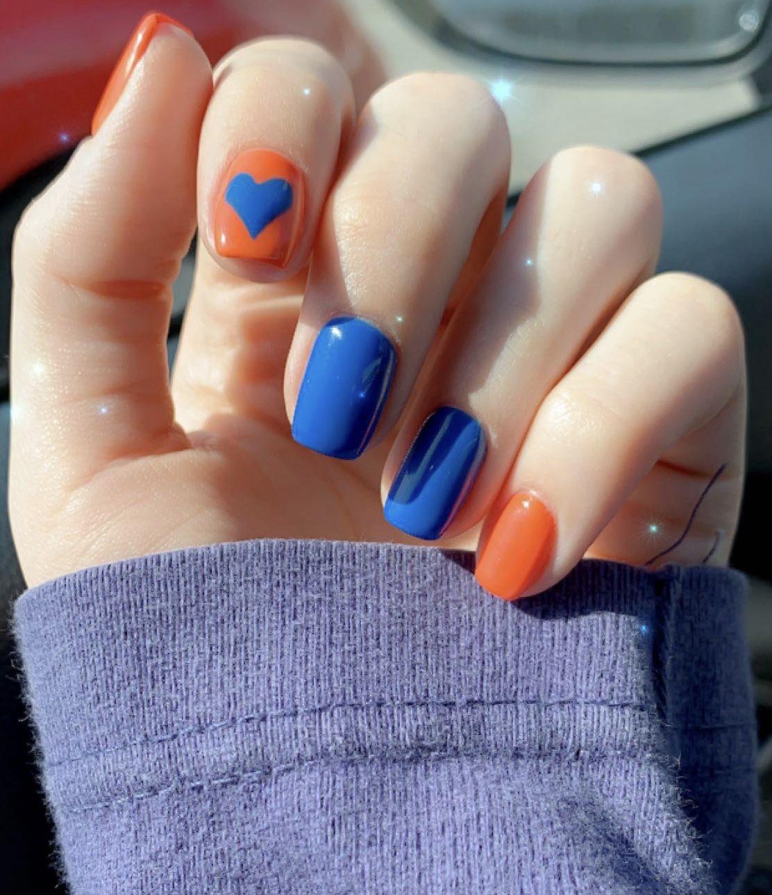 Blue And Orange Nails Orange Nails Orange Nail Art Blue Gel Nails