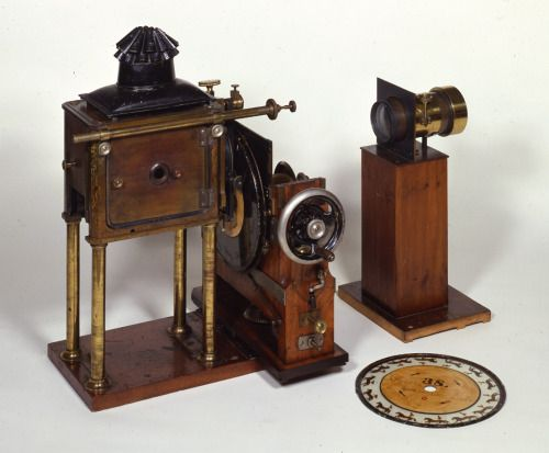 nostalage:  Zoopraxiscope (1879) Eadweard Muybridge further refined the Zoetrope/ Praxinoscope by adding elements from both the sewing machine and magic lantern to create what we now recognise as the first moving image film projector