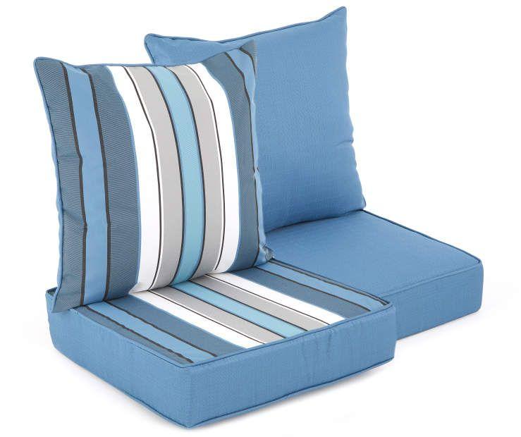 Captain S Blue Stripe Reversible Deep Seat Outdoor Cushion Set Big Lots Deep Seating Outdoor Cushions Deep Seat Cushions