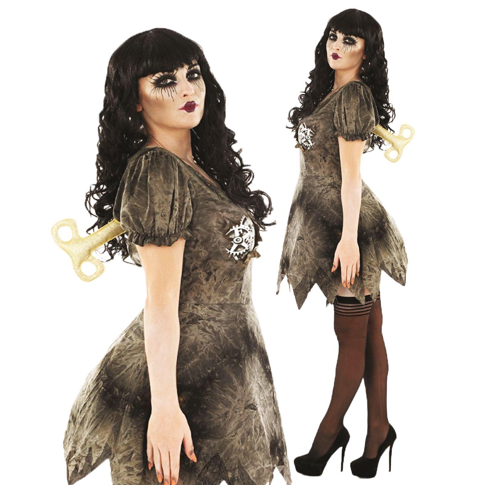 Womens halloween creepy wind up doll steampunk fancy dress costume halloween costumes solutioingenieria Images