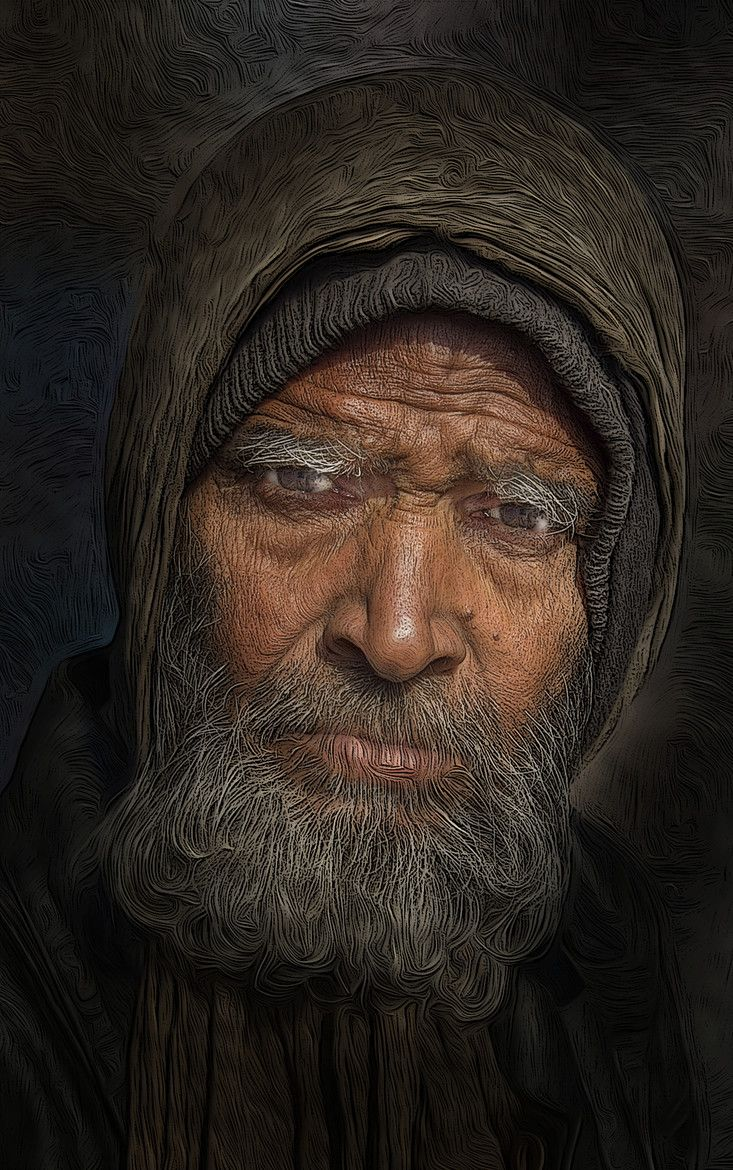 Man portrait face of a Bearded Man by Stephen Wallace ... An Old Man Face With Beards Images