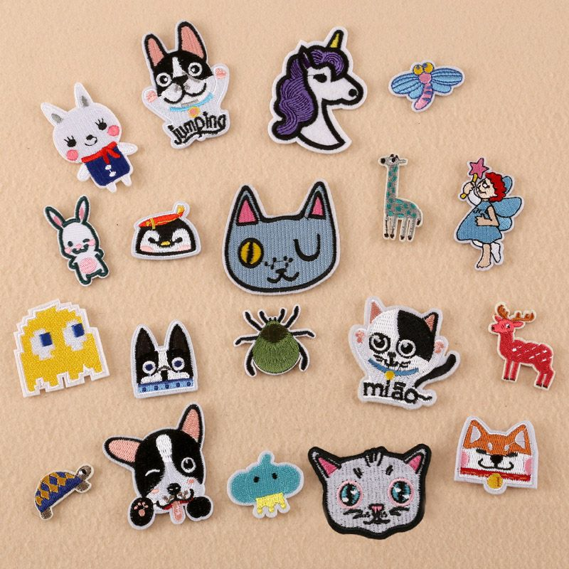 526b79337fce Small Cartoon Dog Cat Rabbit Deer Unicorn Gril Patches Iron On Or ...
