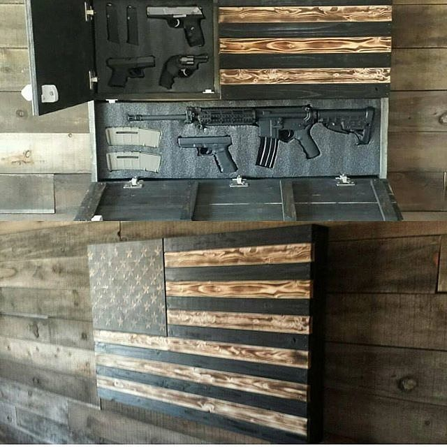 Represent america with a nice gun cabinet and a work of for How to build a gun safe room