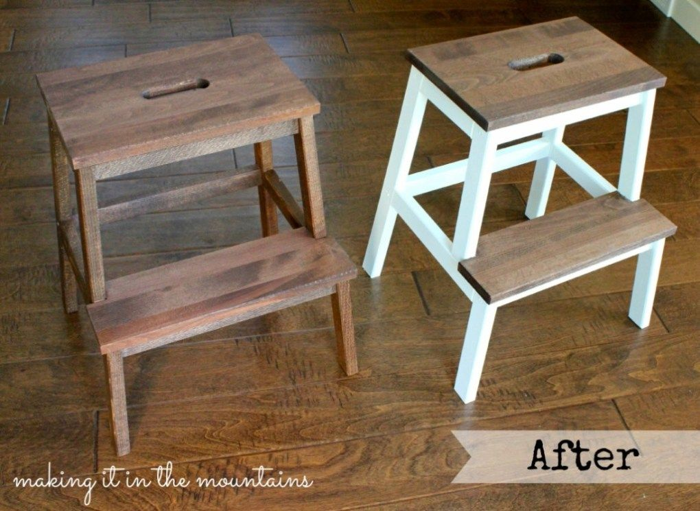 A Quick And Easy Ikea Step Stool Makeover Stool Makeover Ikea Stool Step Stool