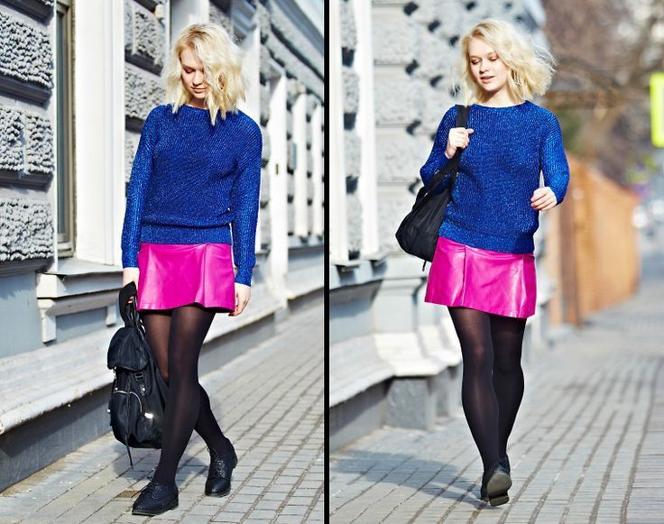 Hello from Moscow! See more pics in my blog! not-perfect-lena.... #russian #moscow #colorblock (link: http://lookbook.nu/look/7181776-Trends-Brands-Sweater-Pink-Skirt-Topshop-Backpack ) color block, color blocking, colorblock style, colorblocking, color block outfit, color block ideas