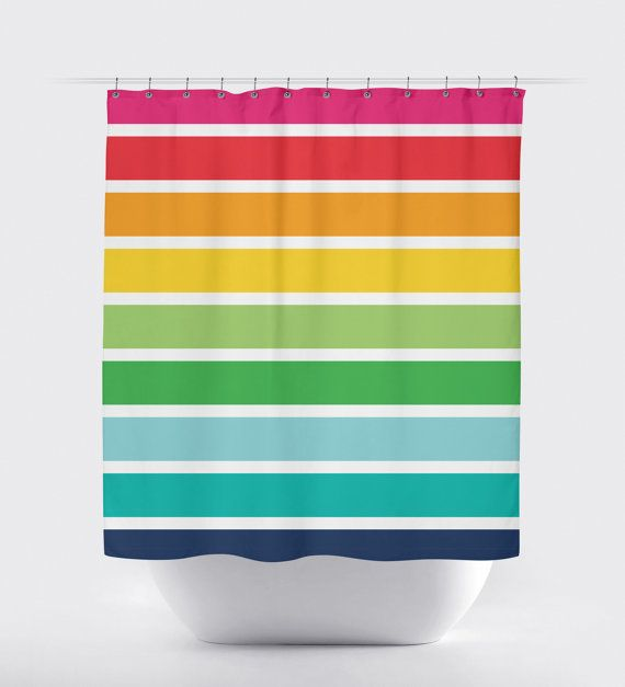 Rainbow Striped Shower Curtain, Custom Shower Curtain, Kids\' Rainbow ...