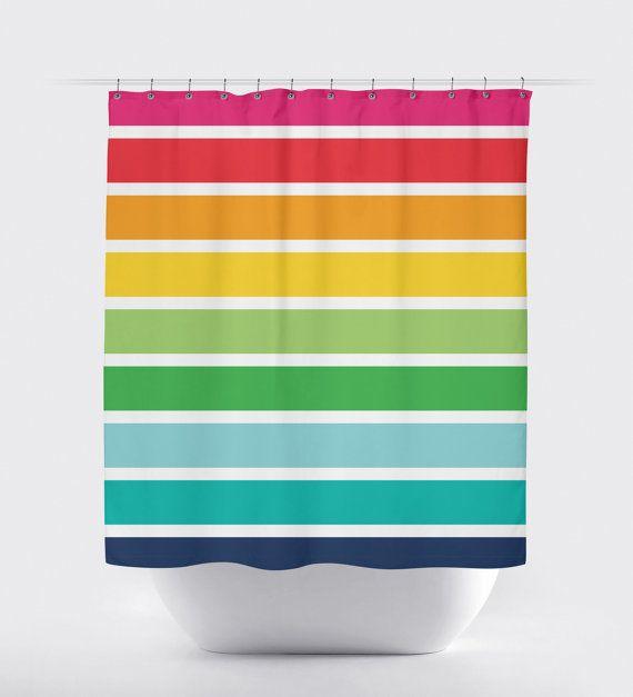 Hey I Found This Really Awesome Etsy Listing At Https Www Etsy Com Listing 231846635 Rai Rainbow Shower Curtain Striped Shower Curtains Girls Shower Curtain