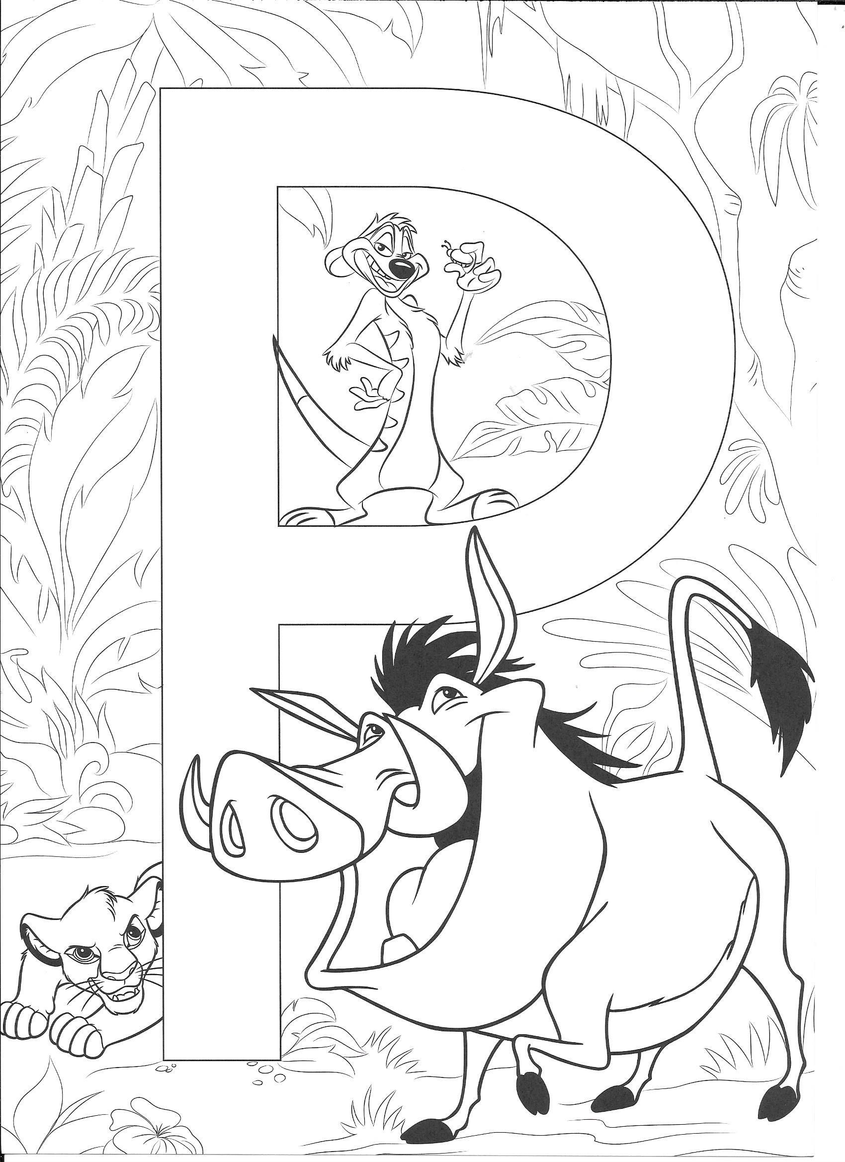 The lion king coloring page. Letter P with timone, pumba