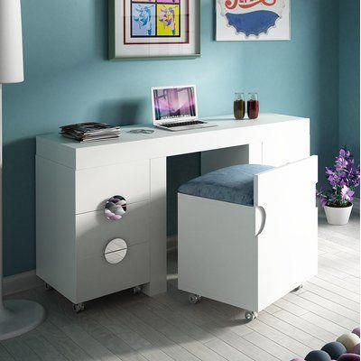 Everly Quinn Kirkwood Bedroom Makeup Vanity Set Color White Glossy