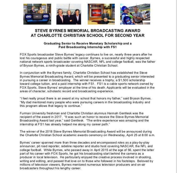 SteveByrnes12 Memorial Broadcasting Award