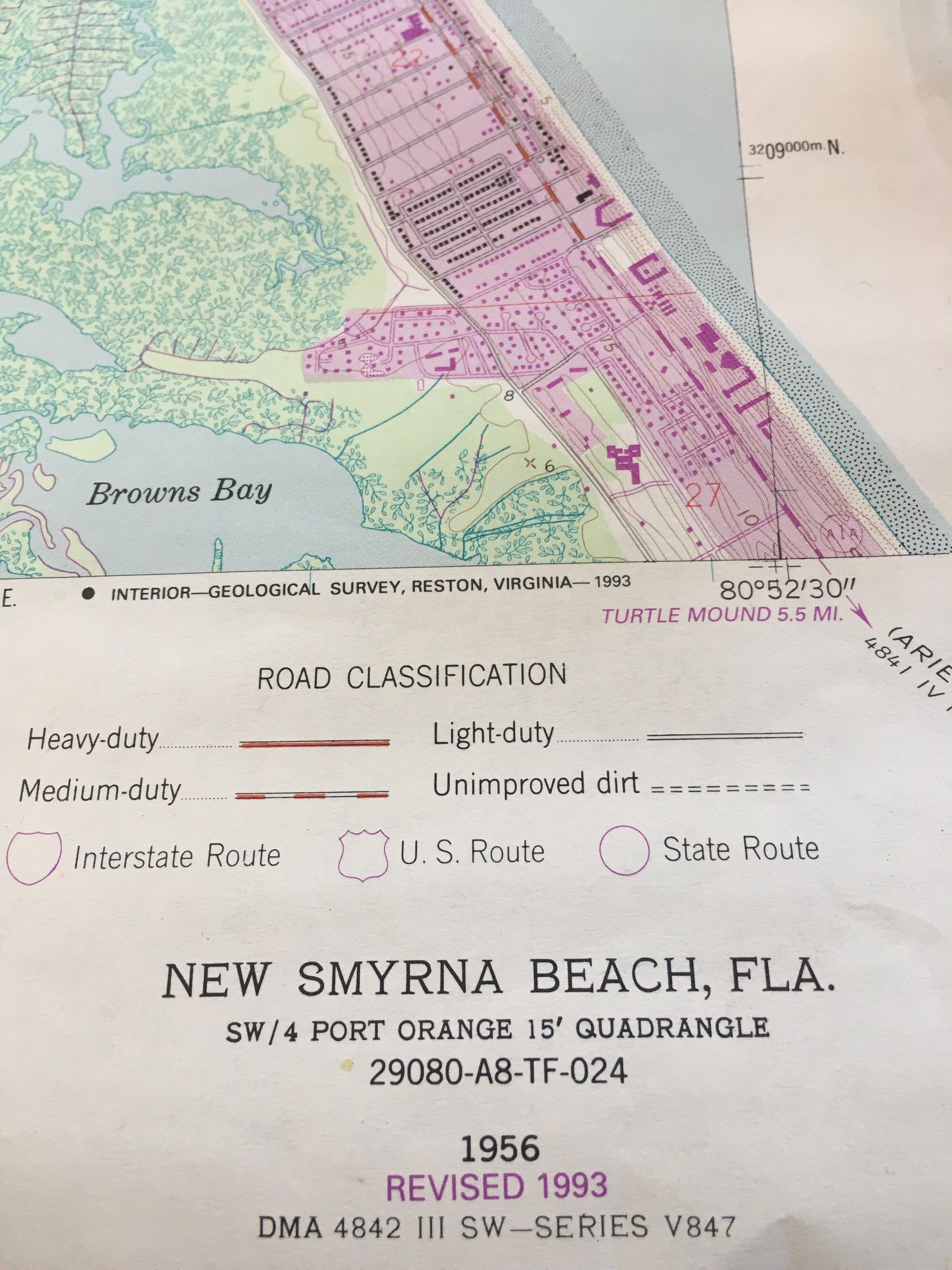 Indian River Florida Map.Original Florida Map Of New Smyrna Beach Ponce Inlet Us Dept