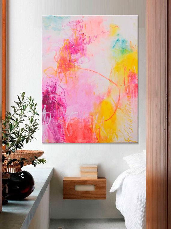 Abstract Painting Large white pink turquoise vertical painting ...