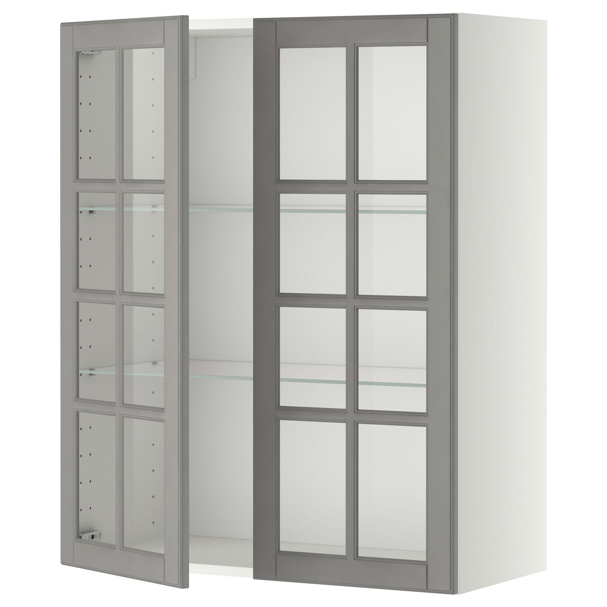 Best Metod Wall Cabinet W Shelves 2 Glass Drs White Bodbyn 400 x 300