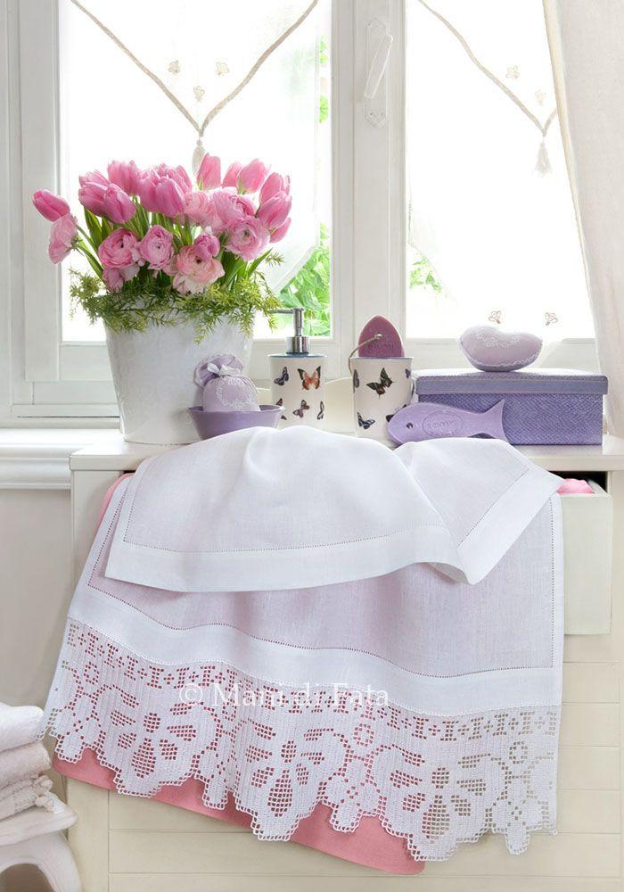 Bordo per asciugamani mani di fata uncinetto filet for Bordi uncinetto per asciugamani