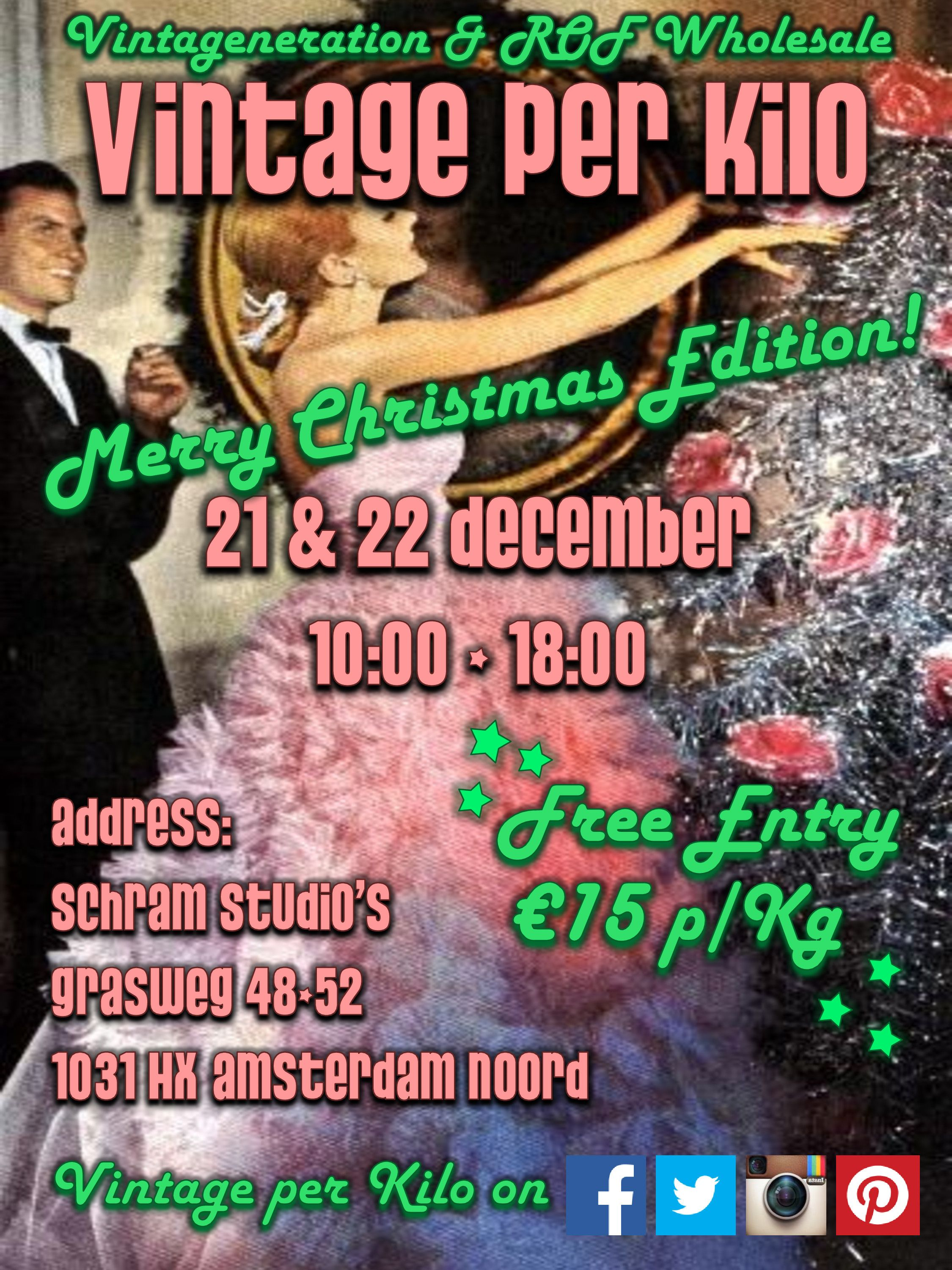 21 & 22 december 2013 @Vintage per Kilo will be at Schram Studio's Amsterdam Noord! This cosy place will be filled with Xmas, New Years eve gowns, party dresses, winter warm wooly items Men's vintage and much, much more! Check https://www.facebook.com/events/1400502713524281/