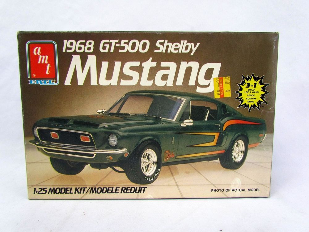 Amt Ertl 1968 Gt 500 Shelby Mustang Model Car 1 25 Scale Unbuilt Complete 6541 Amt Plastic Model Kits Plastic Model Cars Model Kit
