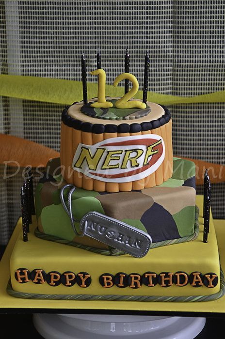 NERF inspired birthday cake by designed by mani CakesDecorcom