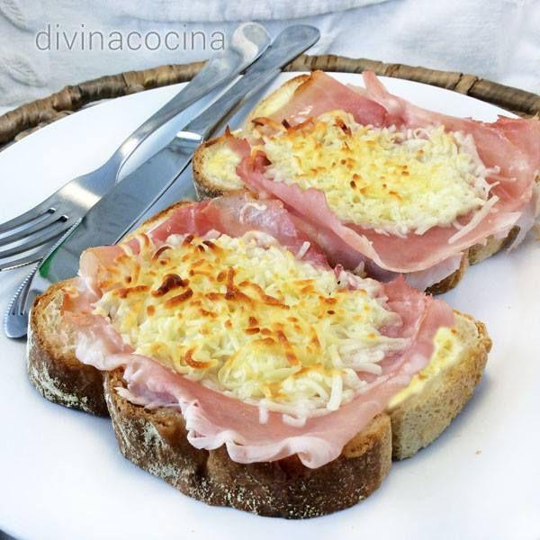 Sándwich mixto abierto y gratinado < Divina Cocina