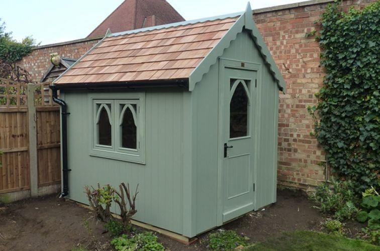 gothic shed finished with sadolin superdec in jungle green. Black Bedroom Furniture Sets. Home Design Ideas