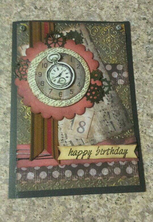 18th Handmade Steampunk Birthday Card By Sharon Munday Cards Birthday Cards Picture Frames