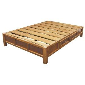 Base matrimonial 4 cajones madera natural todo para el - Bases de cama de madera ...