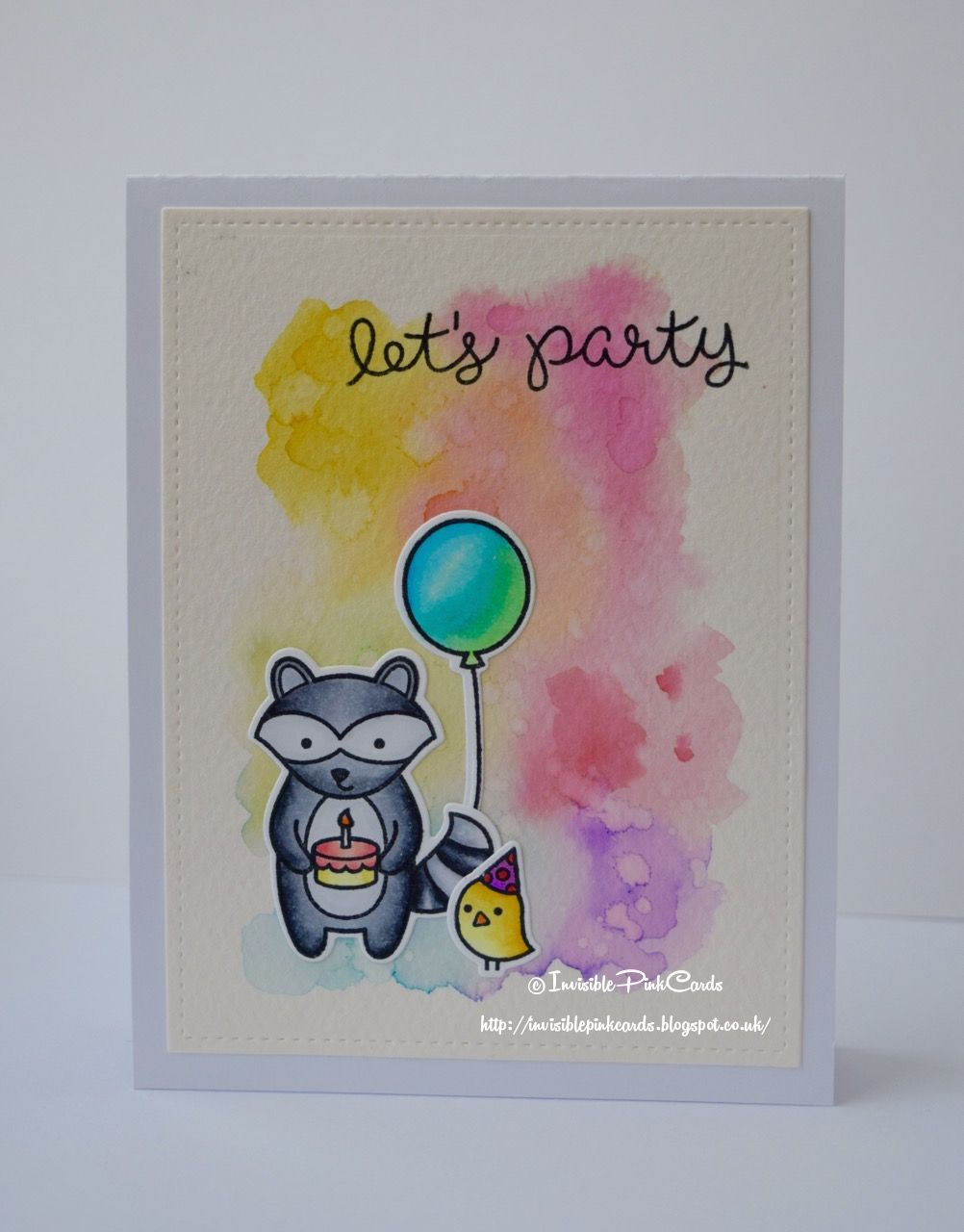 InvisiblePinkCards: Handmade Birthday Card with Lawn Fawn Party Animal and Holiday Party Animal coloured with Copics against a watercolour background with Tim Holtz Distress Markers