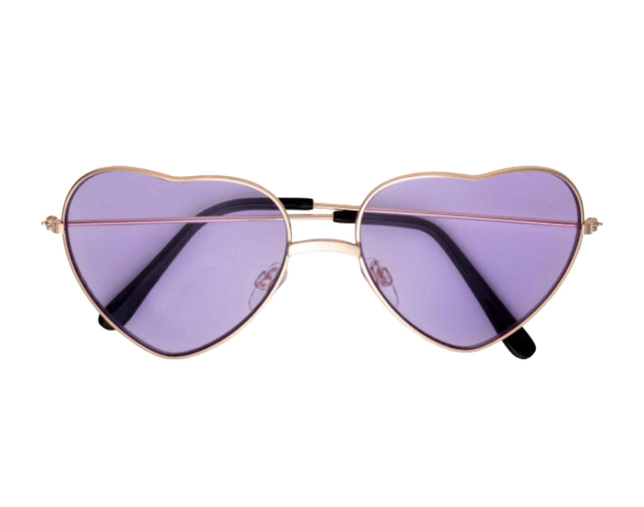 Purple Heart Sunglasses Polyvore Png Glasses Fashion Purple Fake Glasses