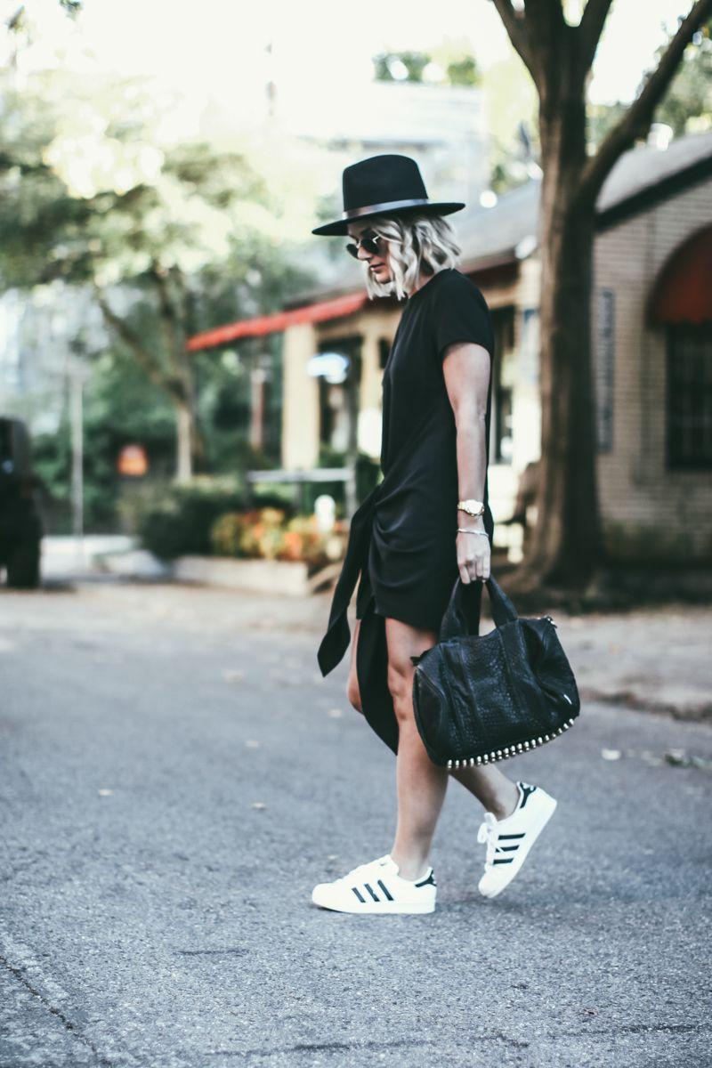 Little Black Dress Fedora For Fall Dress And Sneakers Outfit Dress With Sneakers Dress Fedora [ 1200 x 800 Pixel ]