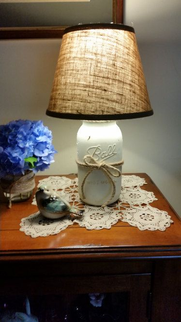 1 2 Gallon Mason Jar Lamp In Lace Color Off By Handcraftedsuds Mason Jar Lamp Mason Jars Mason Jar Fun